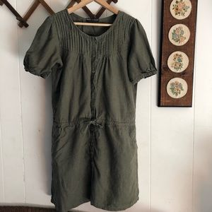 Linen Green Casual Dress